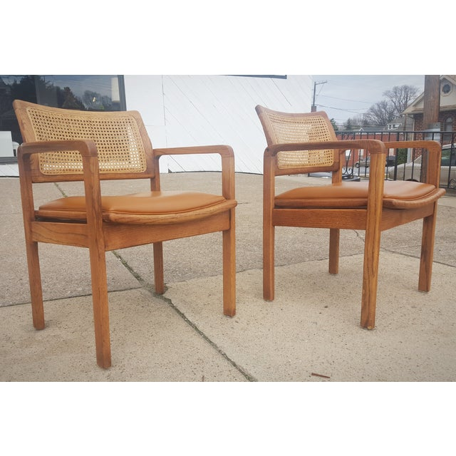 Vintage Rattan Back Guest Armchairs - Pair - Image 3 of 8
