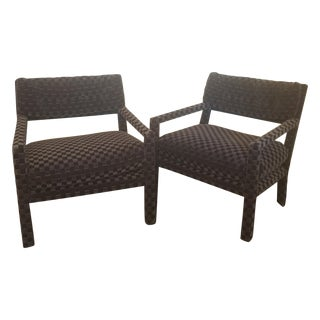 Open Arm Lounge Chairs by Milo Baughman - Pair