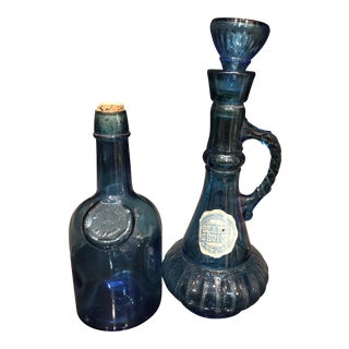 Vintage Blue Bottles - A Pair