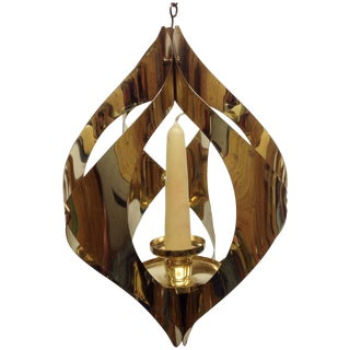 Hollywood Regency Brass Candle Pendant Light