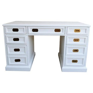 White Campaign Style Desk