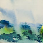 Image of Vintage 1977 Rain-Swept Forest Painting