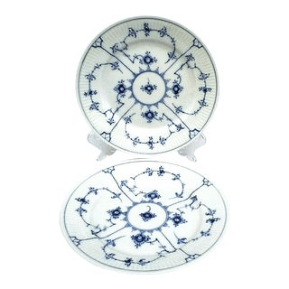 Vintage Royal Copenhagen Salad Plate 179 Blue Fluted Plain - A Pair