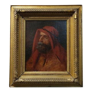 19th century Orientalist -Portrait of an Arab - Oil painting -c.1880s