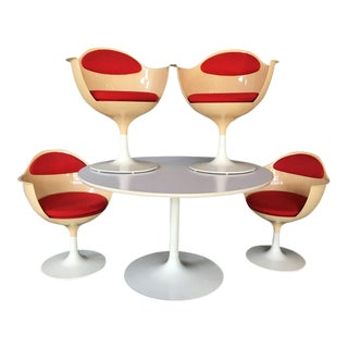 Red & White Tulip Dining Table Set