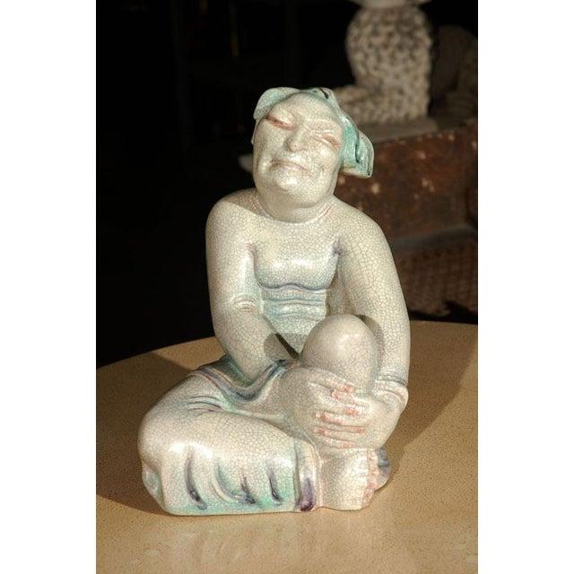 Large Crackle Glazed Buddha Figure - Image 2 of 8