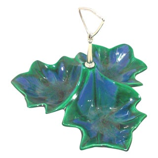 California Pottery Blue & Emerald Drip Glazed Divided Tray