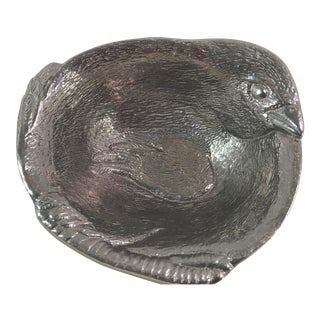 Vintage Pewter Bird Bowl