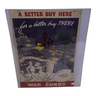 "Vintage WWII War Bonds ""A Better Buy Here"" Poster"