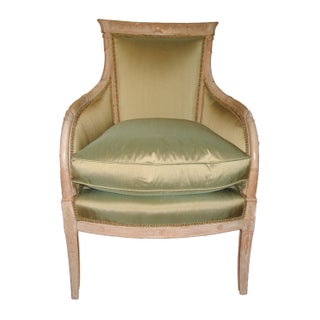 Louis XVIth Style Fauteuil in Pistachio Silk