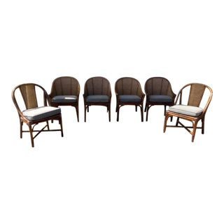McGuire Cane & Rattan Dining Chairs - Set of 6