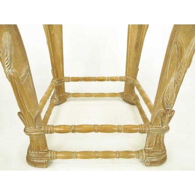 Limed Alder Center Table with Carved Wheat Relief and Glass Top - Image 8 of 10