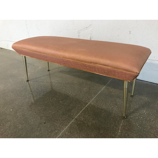 Image of Mid-Century Modern Hollywood Regency Pink & Gold Bench