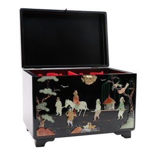 Chinoiserie Wooden Jewelry Trunk