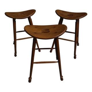 Saddle Seat Bar Stools - Set of 3