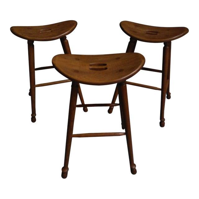Saddle Seat Bar Stools - Set of 3 - Image 1 of 4