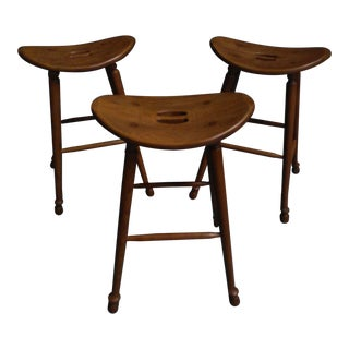 Saddle Seat Bar Stools - Set of 3