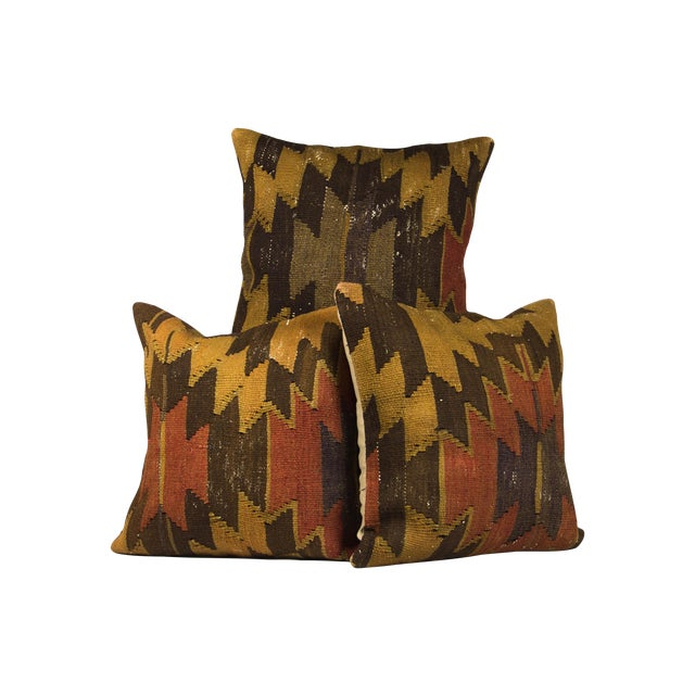 "Image of 20"" Square ""Earthy Aztec"" Colored Pillows - Set of 3"