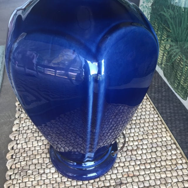 Mid Century Modern Royal Blue Drip Glaze Ceramic Table Lamp - Image 5 of 11