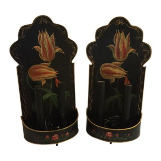 French Country Tole Painted Wall Lamps - A Pair