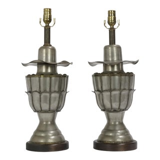 Pair of Metal Art Nouveau Table Lamps