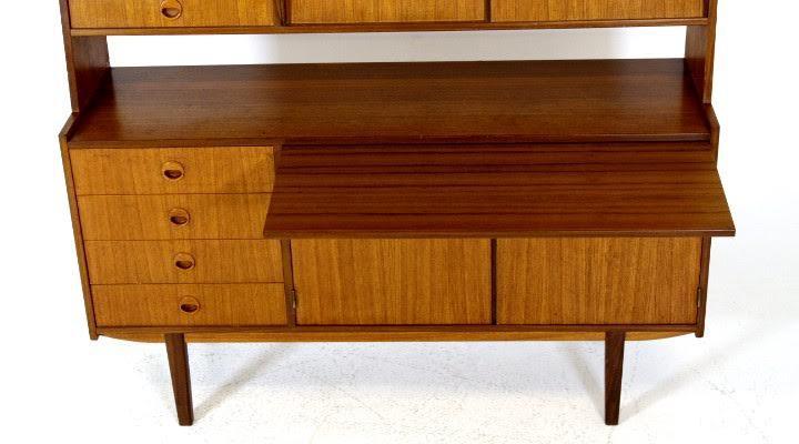 vintage danish mid century modern teak bookshelf secretary credenza desk image 5 of 5