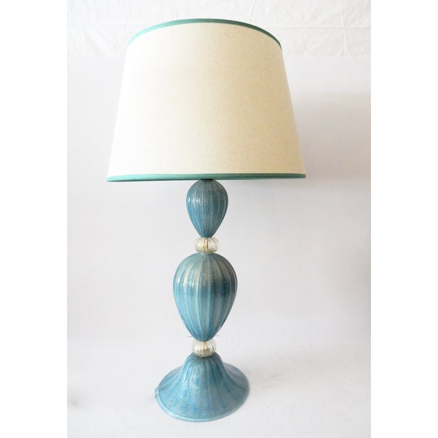 Image of Turquoise Murano Glass Table Lamp
