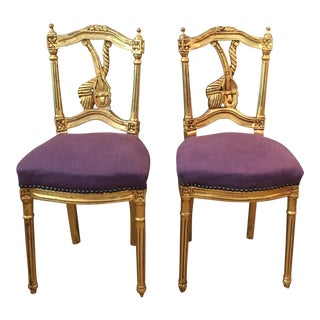 Vintage French Gold Leaf Chairs - A Pair