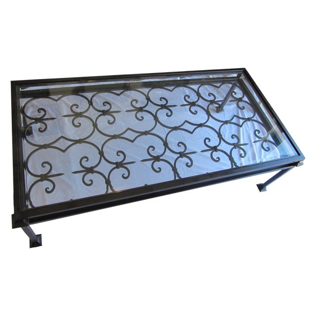 Kreiss Wrought Iron Glass Coffee Table Chairish