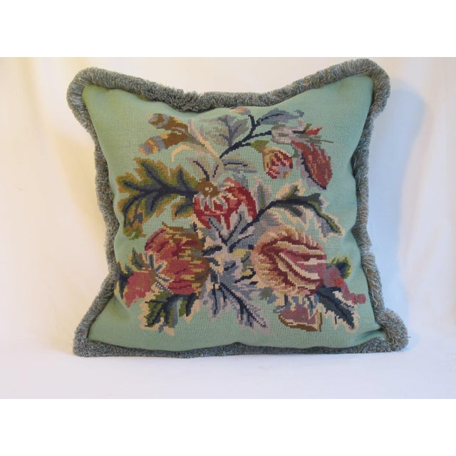 Vintage Floral Needlepoint Pillow - Image 2 of 4