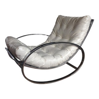 Selig Chrome Leatherette Tufted Rocking Chair
