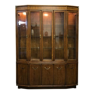 DREXEL HERITAGE Accolade Campaign Style Lighted China Display Cabinet