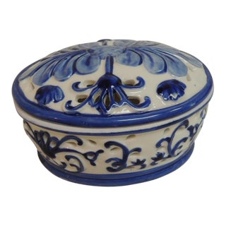 Blue & White Oval Trinket Box With Lid