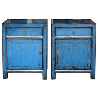 Blue Single-Drawer Side Chests - A Pair