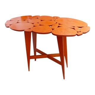 Mid-Century ModernStyle Orange Wood Side Table