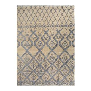 Moroccan Arya Bradly Ivory & Blue Wool Rug - 8′2″ × 10′2″