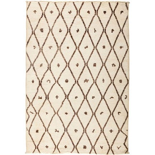 """Moroccan Beni Ourain Hand Knotted Area Rug - 4' 1"""" X 5' 10"""""""