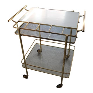 Vintage Mid-Century Brass and Glass Bar Cart