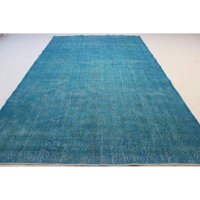 "Turquoise Turkish Over-Dyed Rug - 6'7"" X 10'10"" - Image 7 of 8"