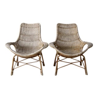 Vintage Wicker Lounge Chairs - A Pair