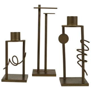 Set of Memphis Style Bronze Candlesticks - 3