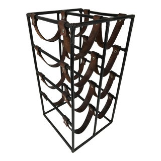 Arthur Umanoff Wrought Iron & Leather Wine Rack