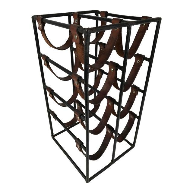 Image of Arthur Umanoff Wrought Iron & Leather Wine Rack