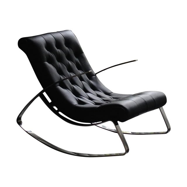 Modern Leather Tufted Rocker - Image 1 of 5
