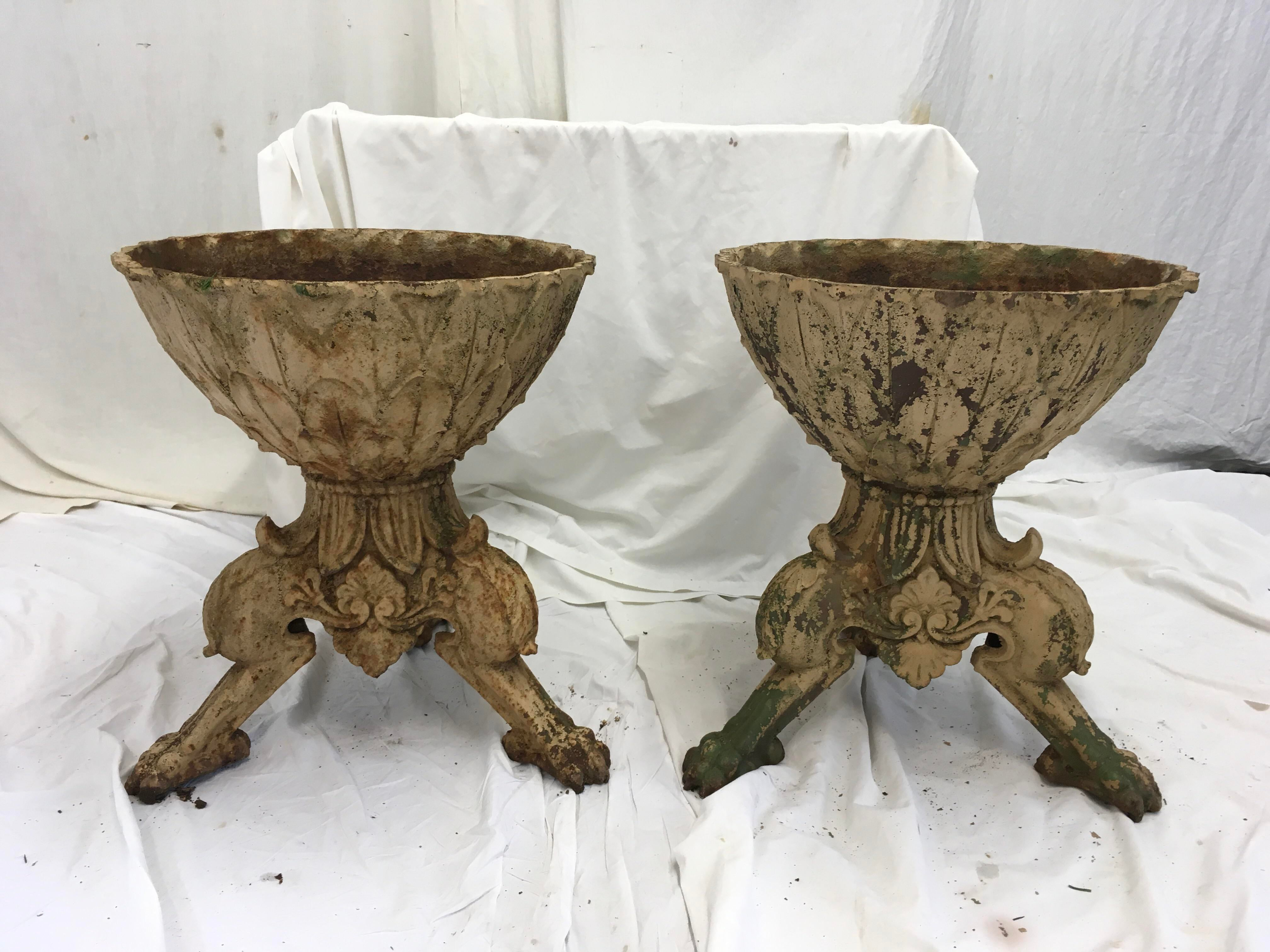 Cast Iron Garden Urns With Paw Feet   Image 2 Of 10