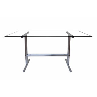 Italian Chrome and Glass Dining Table