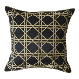 Black & Gold Bamboo Trellis Pillow Cover