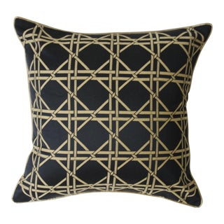 Black & Gold Bamboo Trellis Pillow Cover