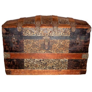Antique Late 1800s Barrel Top Trunk