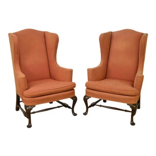 Mahogany Frame Colonial Williamsburg Style Wing Chairs - a Pair